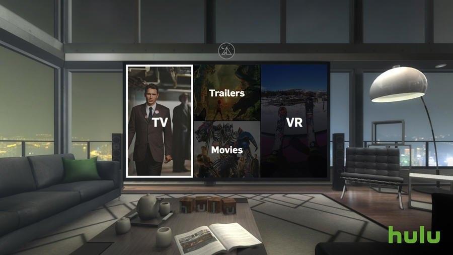 این تصویر محیط اپلیکیشن Hulu Gear VR را نشان می دهد. تمرکز اصلی بر روی این است که این محیط به صورت تمام صفحه باشد.