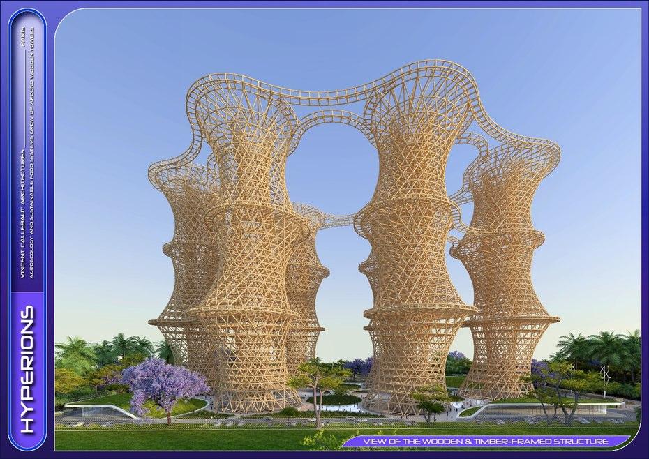 """به گفته ی این معمار، معماری این بنا که از برج های چوبی متصل به هم ساخته می شود –""""دهکده ی چوبی""""- به صورتی است که از چیزی که تصور آن را می کنید، قابل تحمل تر خواهد بود و تا سال ۲۰۲۲ در نزدیکی دهلی نو، هند ساخته می شود."""