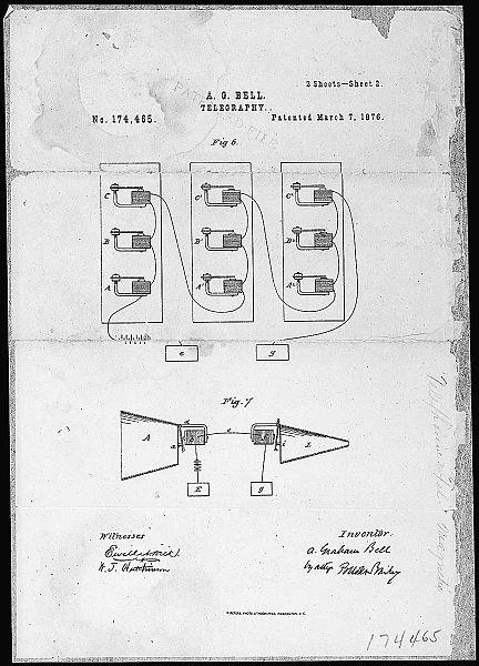 اگرچه چندین مخترع بر روی انتقال صدای الکترونیکی کار کردند و در این زمینه پیشگام بودند ولی در نهایت الکساندر گراهام بل اولین کسی بود که در سال ۱۸۷۶ پتنت اختراع تلفن برقی را برای خود ثبت کرد.