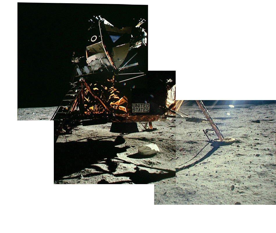 آرمسترانگ، خارج شدن آلدرین از کاوشگر را به ثبت رسانده است.