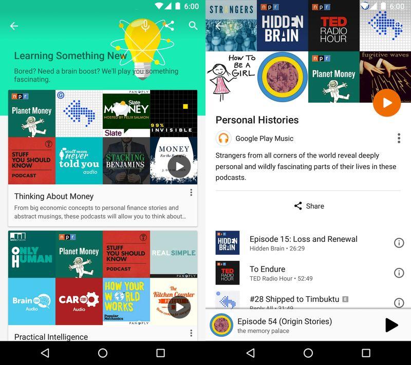 بخش پادکستِ گوگل پلی میوزیک، درست همانند بخش آهنگ خود، بر اساس فعالیت ها و علاقه مندی های کاربر، توضیحات و توصیه های مرتبطی برای هر پادکست ارائه می دهد. این بخش همچنین یک لیستی از بهترین پادکست های هر موضوع به کاربر پیشنهاد می دهد.
