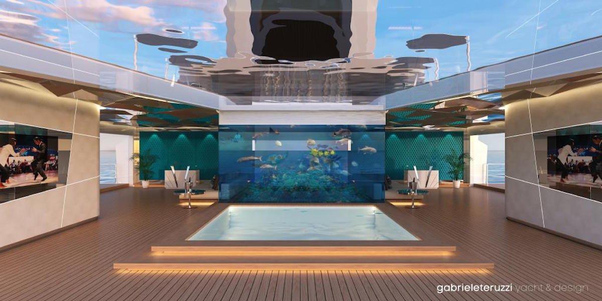 این طراح در عرشه ی پایین تر یک باشگاه ساحلی به مساحت ۳۰۰۰ فوت مربع با آکواریومی در قسمت مرکزی آن، یک استخر و طبقه ی بالایی شیشه ای ارائه می دهد.