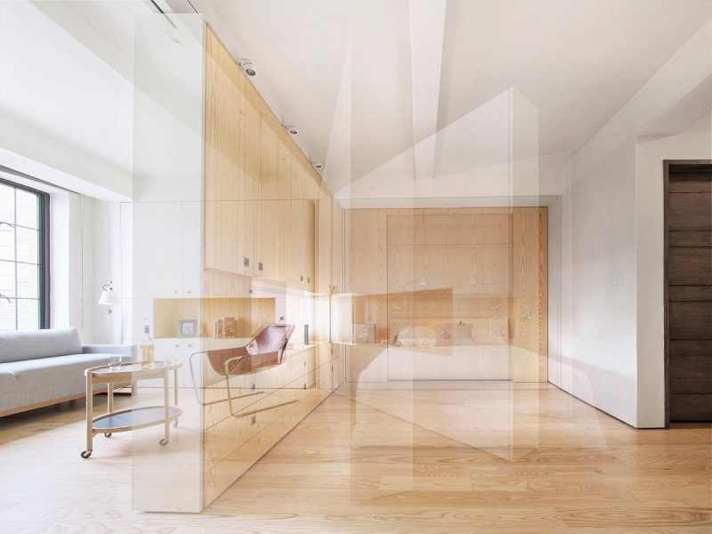 بهترین آپارتمان: پوت (pivot)؛ یک آپارتمان کوچک در نیویورک با دیوارهای متحرک و اتاق خواب های مخفی که توسط شرکت Architecture Workshop PC طراحی شده است.