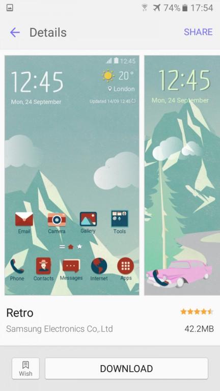 تم های گوناگونی برای رابط کاربری TouchWiz موبایل گلکسی J7 2016 وجود دارد