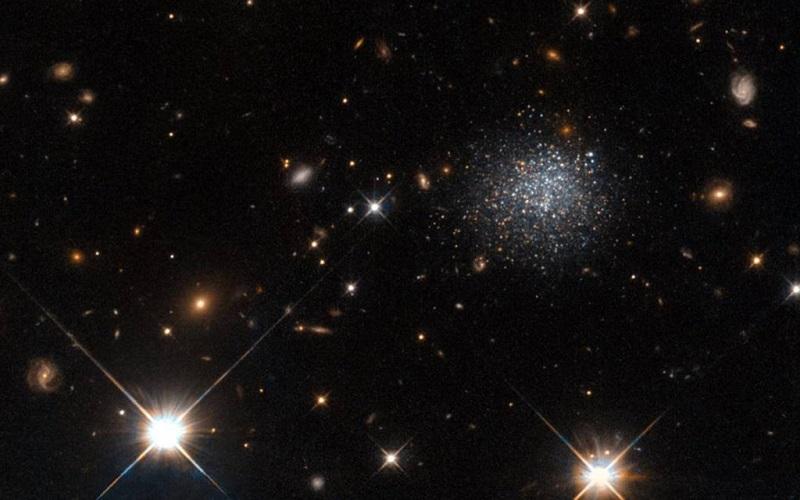این مجموعه ی کرکی از ستاره ها، یک کهکشان کوتوله به نام LEDA 677373 را نشان می دهد. کهکشان های کوتوله، کوچک بوده و در واقع مجموعه ای از ستاره ها و گاز هستند. ویژگی های متنوع این کهکشان ها، باعث جذابیت آنها از نقطه نظر ستاره شناسان می شود؛