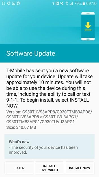 اپراتور آمریکایی تی-موبایل (T-Mobile) آپدیت امنیتی ماه جولای گوشی های گلکسی S7 و S7 اج را برای کاربران آمریکایی خود منتشر کرد. این آپدیت که حجم آن 340 مگابایت است، سطح پچ امنیتی اندروید را در این دو گوشی به 1 جولای تغییر می دهد.