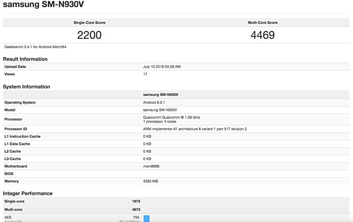 لیست مشخصات مربوط به این شماره مدل که به نظر می رسد نسخه مختص به ورایزونِ گوشی گلکسی نوت 7 باشد در گیکبنچ به نمایش درآمده و با نگاهی گذرا به این مشخصات می توان دریافت که این گوشی یک سیستم-روی-تراشه چهارهسته ای SD820 با سرعت کلاک 1.59 گیگاهرتز و 4 گیگابایت رم داشته و سیستم عامل آن نیز اندروید 6.0.1 مارشمالو است.
