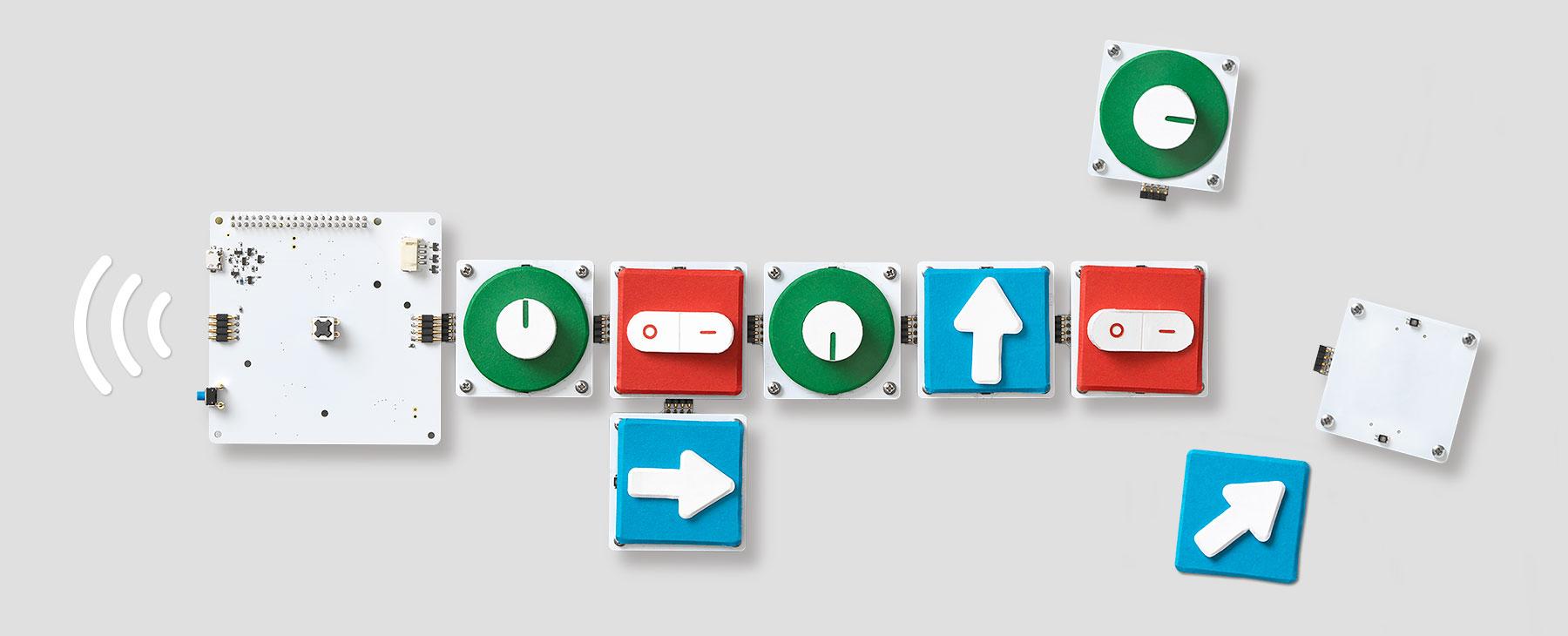 """گوگل در وب سایت مربوط به Project Bloks در رابطه با اینکه چه چیزهایی تا این لحظه توسعه داده شده آورده است که """"ما تا این لحظه به منظور آموزش برنامه نویسی ملموس و قابل درک، یک سیستم ماژولار ایجاد کرده ایم که از بوردهای الکترونیکی و قطعات (پاک، Puck) قابل برنامه ریزی (Pucks) تشکیل شده است. این سیستم به شما امکان این را می دهد که بعد از اتصال آن ها به یکدیگر دستورالعمل های مختلفی را به دستگاه ها ارسال کنید."""""""
