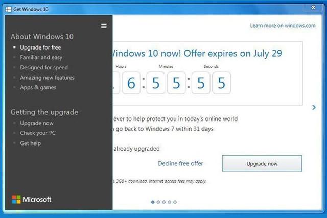 شمارش معکوس برای دریافت نسخه رایگان ویندوز 10