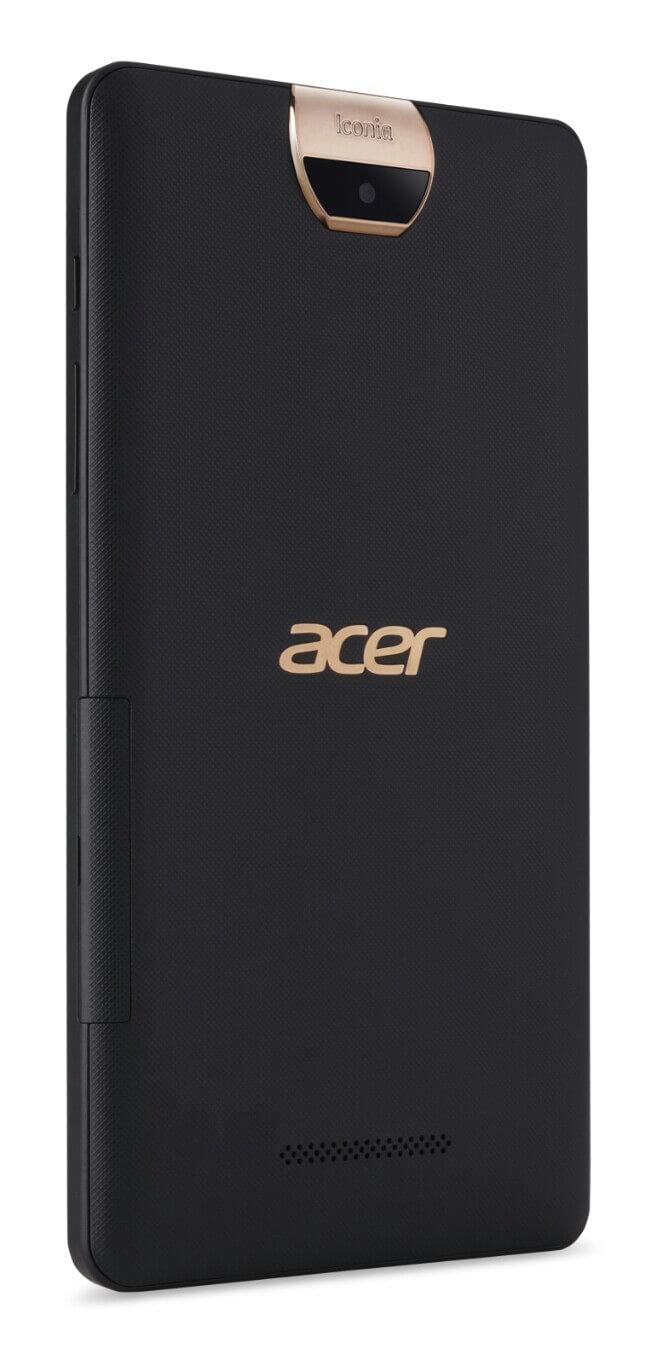 تبلت Acer Iconia Talk S یک دستگاه مقرون به صرفه است که از طراحی جالبی برخوردار شده و با ترکیبی از رنگ های سیاه و طلایی جلوه خاصی پیدا کرده است.