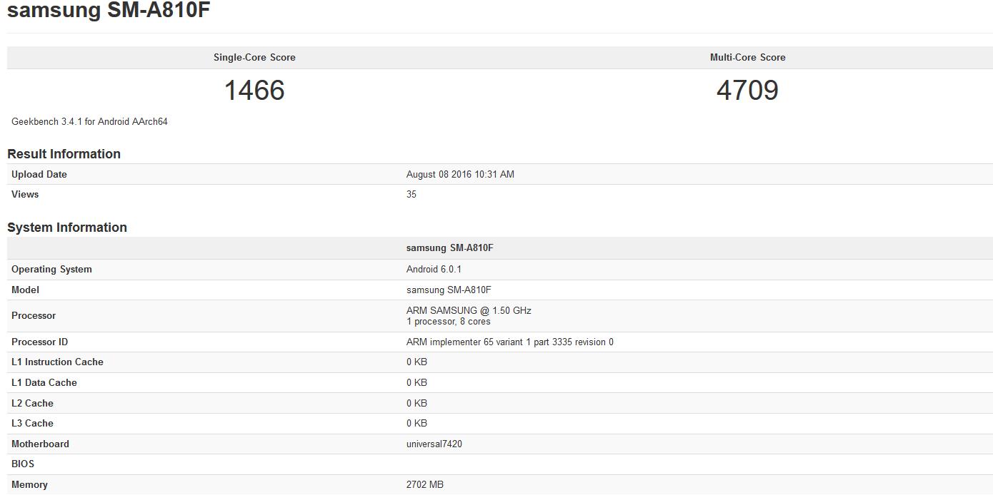 تراشه ی اگزینوس 7420 از پردازنده ی هشت هسته ای با قدرت پردازشی 2.1 گیگاهرتز و پردازنده ی گرافیکی Mali-T760 MP8 برخوردار است. گوشی گلکسی A8 (مدل 2016) از رم 3 گیگابایتی و حافظه ی 32 گیگابایتی بهره خواهد برد.