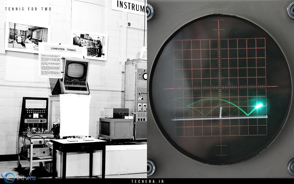 """در سال 1958 اولین بازی ورزشی با نام تنیس برای دو نفر! (Tennis For Two) توسط فیزیکدان دانشگاه بروک هون (Brookhaven National Laboratory) مهندس ویلیام هگن باتم (William """"Willy"""" A. Higinbotham) طراحی و اجرا شد. این بازی با زاویه دوربین از کنار یک زمین تنیس ساخته شده بود و قابلیت تعیین شدت و زاویه ضربه ها را نیز داشت که در زمان خود بسیار نوآورانه و جذاب بود."""