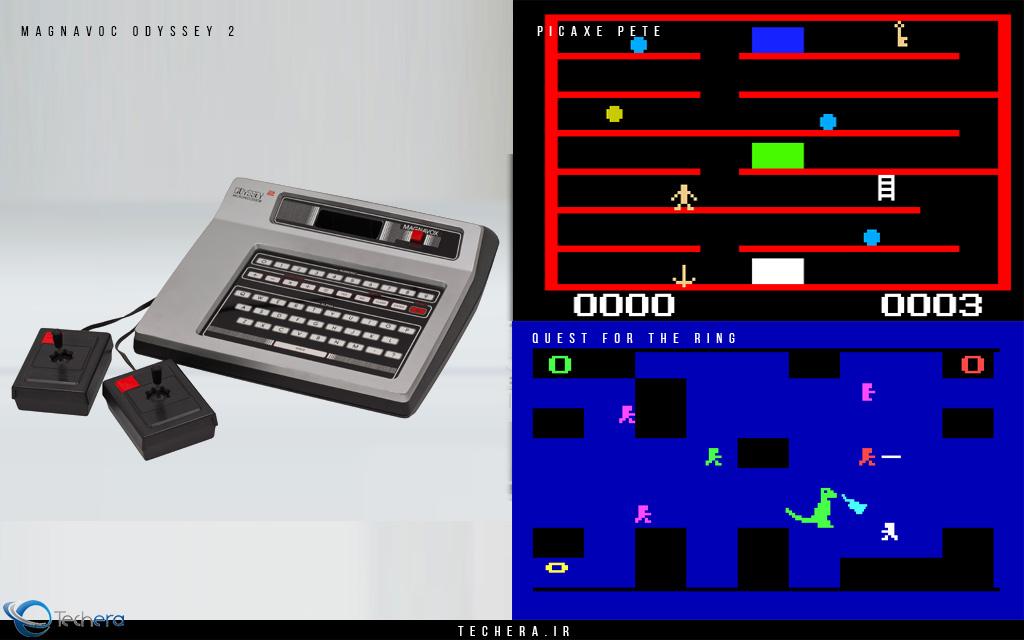 ابتدا شرکت مگنا وکس (Magnavox) نسل دوم کنسول اودیسه (Odyssey) خود را با نام (Magnavox Odyssey 2) ارائه داد. این کنسول در اواخر سال 1978 میلادی به بازار عرضه شد و با قیمت 180 دلاری (معادل 650 دلار امروزی) خود مجهز به تراشه 8048 شرکت اینتل (Intel) با سرعت 11 مگاهرتز بود. بازی ها بصورت کارتریج های مجزا ارائه می شد و امکان اجرای چندین بازی مختلف را به کاربر می داد. از نمونه بازی های محبوب این کنسول می توان به انواع بازی های کارتی، سری بازی های Quest for the Ring و سری بازی های Dangeon & Dragon اشاره کرد. استفاده از 16 رنگ در طراحی بازی ها یکی از پیشرفت های این کنسول نسبت به نسل قبلی بود. از دستگاه اودیسه (Magnavox Odyssey 2) تا انتهای تولید خود در اواسط دهه 80 میلادی چیزی در حدود 2 میلیون دستگاه به فروش رفت.