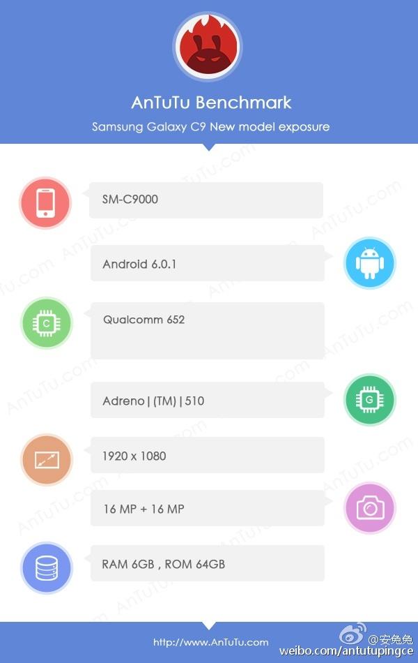 به گزارش این بنچمارک، گوشی سامسونگ گلکسی سی 9 از تراشه ی اسنپ دراگون 652، حافظه ی 64 گیگابایتی و نمایشگر 6 اینچی با کیفیت تمام اچ دی برخوردار خواهد شد.