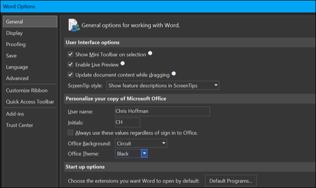 فعال کردن تم تیره در Microsoft Office