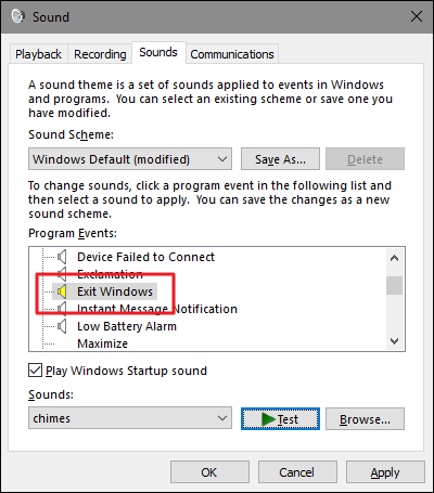 Exit Windows, Windows Logoff و Windows Logon در کنترل پنل