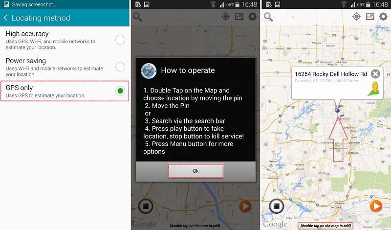 در ادامه مرحله یک در پنجرهی جدید، گزینهی جی.پی.اس آنلی (GPS only) را انتخاب کنید. اکنون کافی است نقطه جغرافیایی جعلی خود را که میخواهید بقیه اپلیکیشنها و سرویسها فکر کنند شما متعلق به آنجا هستید را با دو بار ضربه زدن بر روی آن انتخاب کنید تا به عنوان مکان جعلی یا بهاصطلاح فیک شما محسوب شود. کار تمام است.