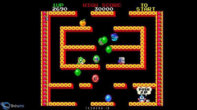 نمایی از بازی سبک پلتفورمر Bubble Bobble شرکت تایتو