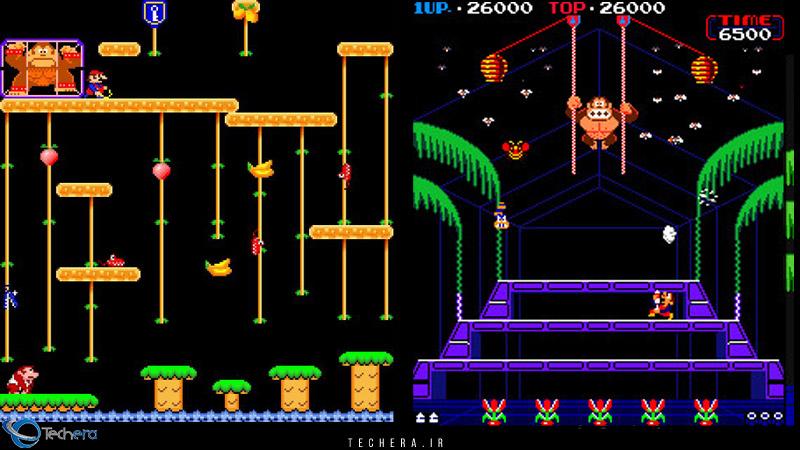 سری دوم و سوم بازی های دانگی کونگ با نامهای Donkey Kong Jr (سمت چپ) و Donkey Kong 3 (سمت راست)