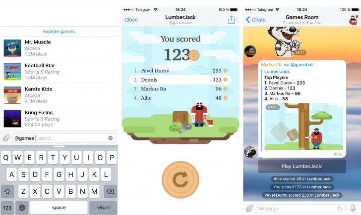 پشتیبانی از بازی به قابلیت های دیگر اپلیکیشن تلگرام اضافه می شود