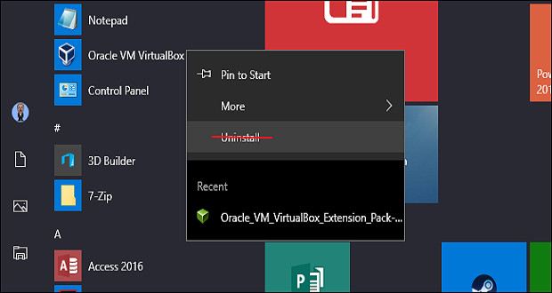 چگونه گزینه Uninstall را از منوی استارت ویندوز 10 حذف کنیم؟
