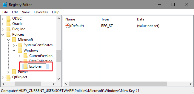 ابتدا شما نیاز دارید که یک کلید فرعی جدید در داخل کلید ویندوز ایجاد کنید. بر روی کلید ویندوز کلید راست نمایید و New>Key را انتخاب کنید. نام کلید جدید را Explorer بگذارید.