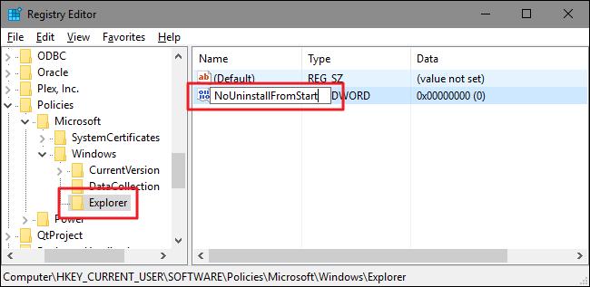 بر روی اکسپلورر کلید راست کرده و ماوس را روی New برده و از آن جا DWORD (32-bit) Value را انتخاب نمایید. نام Value جدید شما NoUninstallFromStart است.
