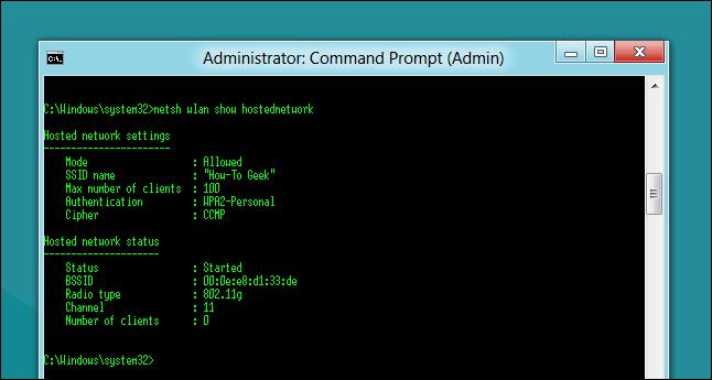 دستور نمایش جزئیات شبکه اد هوک