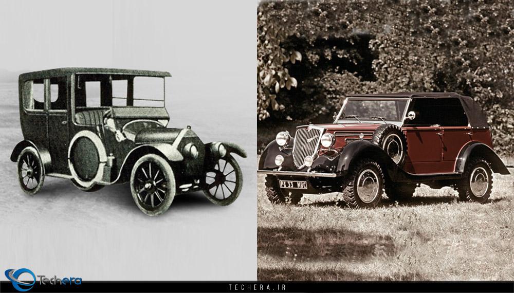 دو نمونه از خودروهای تولید شرکت میتسوبیشی قبل از جنگ جهانی دوم