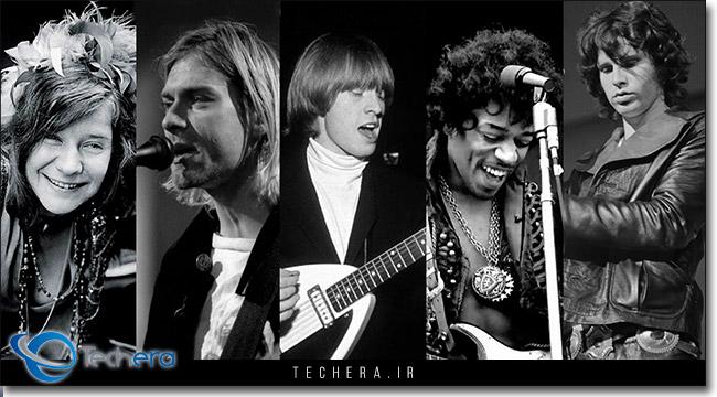 مشهور ترین اعضای کلوب 27 از چپ به راست جنس جاپلین، کرت کوبین،برایان جونز، جیمی هندریکس، جیم موریسون
