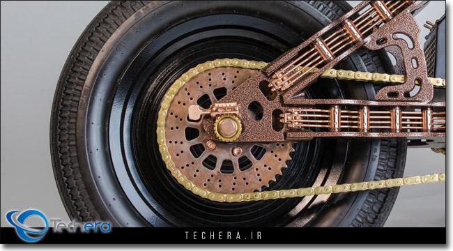 طراحی رینگ 16 اینچی موتوسیکلت هارد راک کافه به سبک صفحه های گرامافون قدیمی