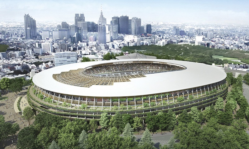 یک رندر هنری از استادیوم جدید بازهای المپیک 2020 توکیو که توسط معمار ژاپنی کنگو کوما طراحی شده است.