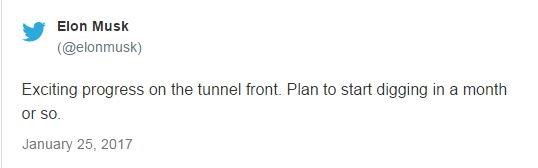 توییت هفته گذشته ایلان ماسک که در آن خبر از احداث تونل طی یک ماه و یا چند ماه آینده داده بود.