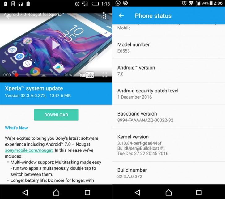 گوشی هوشمند اکسپریا Z3+ سونی نیز آپدیت های مشابهی نسبت به گوشی های پیشین این کمپانی دریافت کرده که شماره این نسخه سیستم عامل را به 32.3.A.0.372 ارتقا داده است.