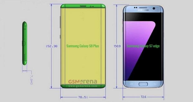 ابعاد گوشی های گلکسی اس 8 و گلکسی اس 8 پلاس فاش شد