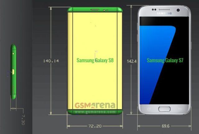 ابعاد گوشی های گلکسی اس 8 و گلکسی اس 8 پلاس