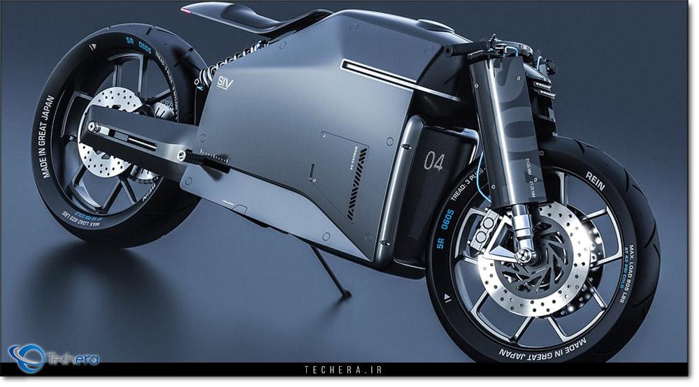 نمایی از بخش جانبی موتورسیکلت مفهومی سامورایی ، نمونه ای مفهومی بر اساس فلسفه باستانی ذن ژاپن