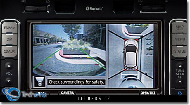نمایی از نمایشگر سیستم دوربین مشاهده فضای اطراف یا نمای 360 درجه موجود در خودروهای جدید شرکت نیسان
