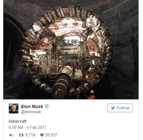 ایلان ماسک، عکسی از دستگاه حفر تونل ماینکرافت خود منتشر کرده است
