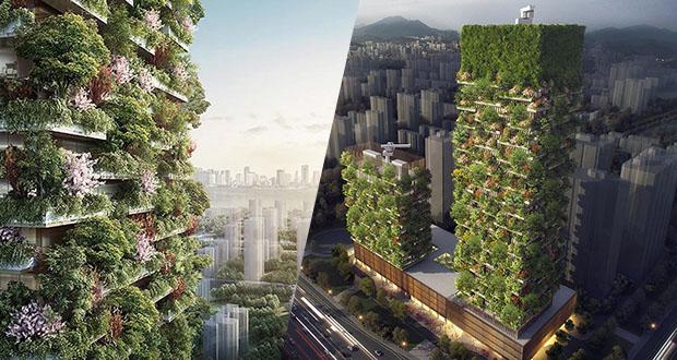 اولین باغ عمودی آسیا با بیش از 3000 گیاه در چین