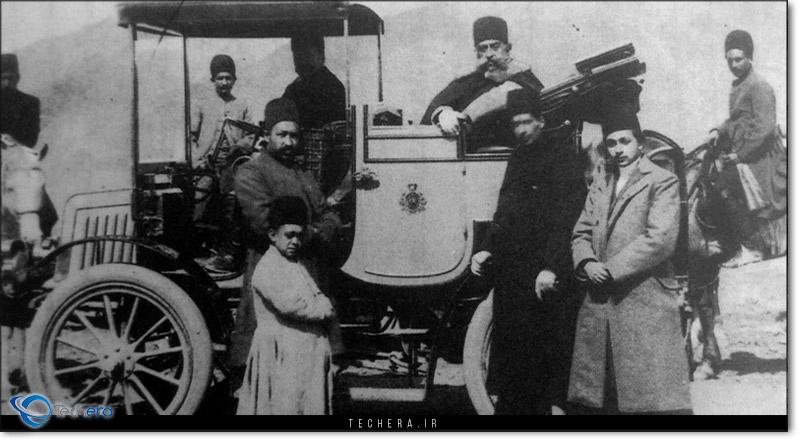 مظفرالدین شاه قاجار و خودروی رنو وارد شده به ایران - سال 1899 میلادی