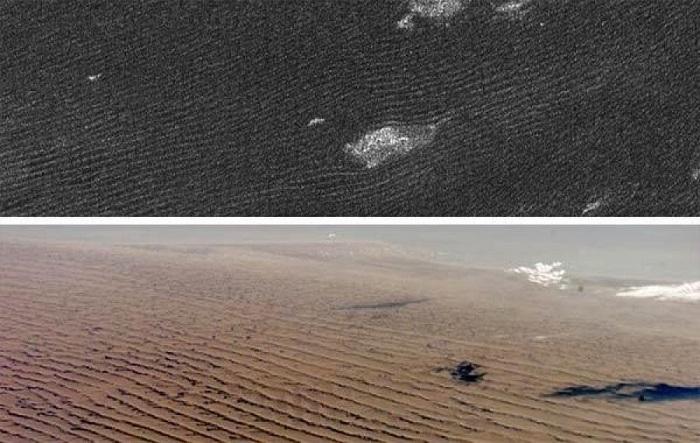 در تصویر فوق که توسط رادار نقشهبردار کاوشگر کاسینی ثبتشده است، تپههای شنی قمر تیتان (بالا) همانند تپههای شن نامیبیا در جنوب آفریقا (پایین) به نظر میرسند. ویژگی ابر مانندی که در تصویر بالا مشاهده میکنید، عوارض توپوگرافی موجود در تپههای شنی وارونه قمر تیتان هستند