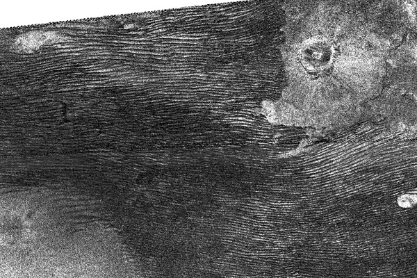 تپههای شنی وارونه قمر تیتان از نمای رادار نقشهبردار کاوشگر کاسینی