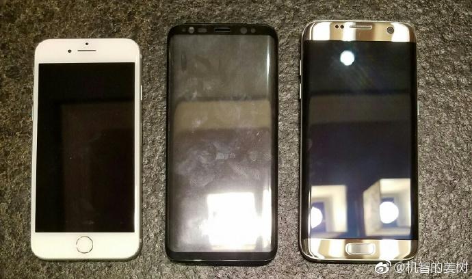 مقایسه اندازه گلکسی اس 8، گلکسی اس 7 ادج، آیفون 7