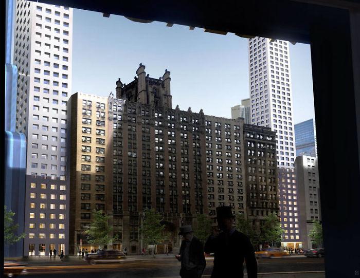 این برج برای دور زدن قوانین سخت شهر نیویورک، که به محدودیت ارتفاع مربوط میشود، اینگونه طراحی شده است.