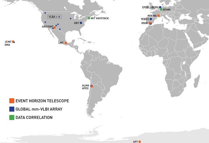 این نقشه مکان هایی که تلسکوپ های مختلف پروژه تلسکوپ افق رویداد قرار داشته اند را نشان می دهد