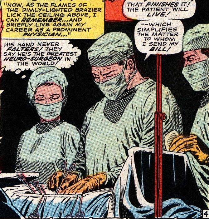 """تصویری از کتاب کمیک دکتر استرنج. شاید جای تعجب باشد؛ اما عمل جراحی دکتر کاناورو از کتاب های کمیک و مشخصا کمیک مشهور """"دکتر استرنج"""" الهام گرفته است. کاناوارو ابتدا در مقاله ای که ژوئن سال ۲۰۱۳ منتشر کرد، ایده خود را مطرح کرد"""