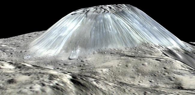 تنها کوه سیاره کوتوله سرس، آتشفشان یخی آهونا مونس، ممکن است به آرامی هموار شود. در تصویر هنری فوق؛ ارتفاع قله دو برابر بزرگ تر ترسیم شده است