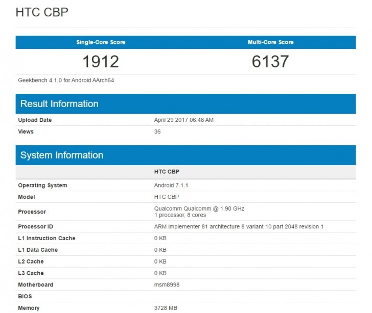 گوشی اچ تی سی U 11 در آزمون های تک هسته ای، امتیاز 1912 را به دست آورده و در آزمون 8 هسته ای خود، امتیاز 6137 را از آن خود کرده است
