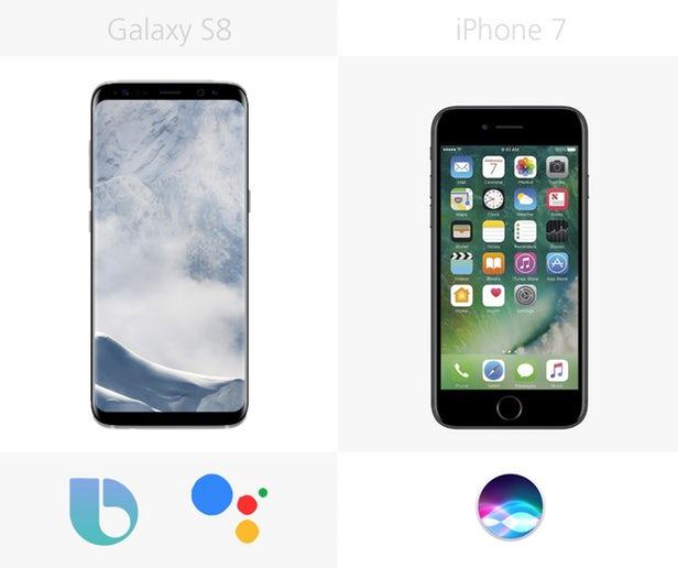 گوشی گلکسی اس 8 با دستیارهای گوگل (Google Assistant) و کنترل صوتی سامسونگ (Bixby) همراه شده است. آیفون 7 نیز از دستیار مجازی سیری برخوردار شده است.